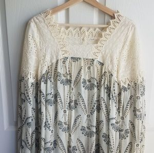 Anthropologie Tops - Floreat Ivory Sheer Cantata Peasant Blouse Size 2